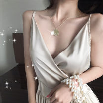 Dress Summer of 2019 Picture color Average size longuette singleton  Sleeveless commute V-neck High waist Solid color Socket Pencil skirt camisole Type X Other / other Korean version Silk and satin polyester fiber