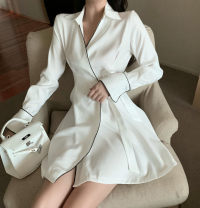 Dress Autumn of 2019 White, black M, L Short skirt singleton  Long sleeves commute V-neck High waist Solid color A-line skirt pagoda sleeve 18-24 years old Type X Other / other lady Crepe de Chine