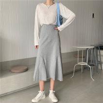 skirt Summer 2020 Average size Gray, black Mid length dress commute High waist High waist skirt Solid color Type A 51% (inclusive) - 70% (inclusive) cotton Korean version