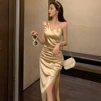 Dress Summer 2021 Champagne S,M,L Mid length dress singleton  Sleeveless commute V-neck Solid color Pencil skirt Type O Korean version Silk and satin Cellulose acetate