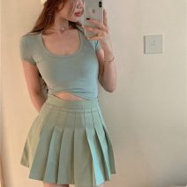short coat Summer 2021 S M L Green t Khaki t green skirt Khaki Skirt 18-24 years old Enigma 96% and above 99585# other Other 100% Pure e-commerce (online only)