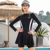 one piece  INSFREDDY M,L,XL,XXL,4XL,5XL black Skirt one piece With chest pad without steel support Nylon, spandex, polyester female Long sleeves Competitive swimsuit Solid color Lotus leaf edge