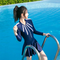 one piece  INSFREDDY M,L,XL,XXL,XXXL Skirt one piece With chest pad without steel support Nylon, spandex, polyester, others female Long sleeves Competitive swimsuit Lotus leaf edge