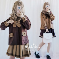 Dress Spring 2020 Chocolate top, mocha pleated skirt, mocha top, chocolate pleated skirt, chocolate Top + Mocha pleated skirt, mocha Top + Chocolate pleated skirt S,M,L Short skirt Two piece set Long sleeves Sweet Admiral solar system