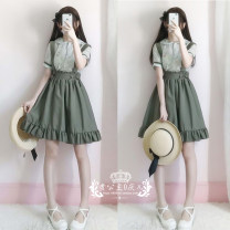 Dress Summer 2020 S, M singleton  Sweet Solid color zipper straps Type A bow 71% (inclusive) - 80% (inclusive) other Lolita