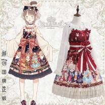 Dress Summer 2021 S,M,L Short skirt singleton  Sweet Cartoon animation zipper Cake skirt camisole Bow, ruffle, stitching Lolita