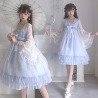 Dress Summer 2021 Light blue dress S,M,L Fake two pieces Long sleeves Sweet Lotus leaf sleeve Type A Three dimensional decoration, ruffle, lace Lolita
