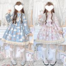 Dress Spring 2021 Pink OP dress, blue OP dress S,M,L Short skirt singleton  Long sleeves Sweet Doll Collar Cartoon animation zipper Princess Dress Type A Lace, bow, tridimensional decoration, printing, lace Lolita