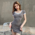 Dress Summer 2021 Blue, gray S,M,L,XL Short skirt singleton  Short sleeve street Crew neck High waist letter Socket One pace skirt routine Others 18-24 years old Type H knitting YXJD2351W0E 91% (inclusive) - 95% (inclusive) knitting cotton Europe and America