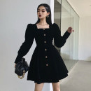 Dress Winter 2020 S,M,L,XL Short skirt singleton  Long sleeves street square neck High waist Solid color Single breasted A-line skirt puff sleeve Others 18-24 years old Type A Button, resin fixation 91% (inclusive) - 95% (inclusive) other polyester fiber Europe and America
