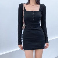 Dress Autumn 2020 Black, gray S,M,L Short skirt singleton  Long sleeves street Crew neck High waist Solid color other One pace skirt routine Others 18-24 years old Type H Resin fixation DLD4659W0G 91% (inclusive) - 95% (inclusive) knitting cotton Europe and America