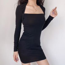 Dress Winter 2020 black S,M,L Short skirt singleton  Long sleeves commute square neck High waist Solid color Socket One pace skirt routine Others 18-24 years old Type H court Resin fixation DLD8175W09 More than 95% other cotton