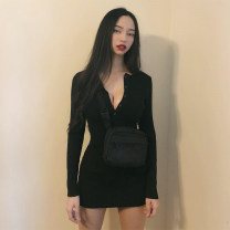 Dress Autumn of 2019 S,M,L,XL Short skirt singleton  Long sleeves street Crew neck High waist Solid color Socket One pace skirt routine Others 18-24 years old Type H Button 31% (inclusive) - 50% (inclusive) knitting cotton Europe and America