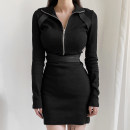 Dress Winter 2020 black S,M,L Short skirt singleton  Long sleeves street High collar High waist Solid color zipper One pace skirt routine Others 18-24 years old Type H Zipper, resin fixation DLWKD00548 51% (inclusive) - 70% (inclusive) knitting polyester fiber Europe and America