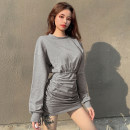 Dress Spring 2021 Gray, black S,M,L Short skirt singleton  Long sleeves street Crew neck High waist Solid color Socket One pace skirt routine Others 18-24 years old Type H Pleats, folds, bandages YXJD6230W0H 51% (inclusive) - 70% (inclusive) other cotton Europe and America