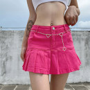 skirt Winter 2020 S,M,L Pink, blue, light blue, white Short skirt street High waist Ruffle Skirt Solid color Type A 18-24 years old DLD3631V0F 91% (inclusive) - 95% (inclusive) Denim cotton Ruffles, pleated skirt Europe and America