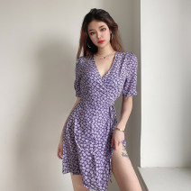 Dress Spring 2021 Purple, black S,M,L Short skirt singleton  Short sleeve street V-neck High waist Broken flowers Socket A-line skirt routine Others 18-24 years old Type A Bandage, resin fixation 51% (inclusive) - 70% (inclusive) other acrylic fibres Europe and America