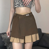 skirt Summer 2021 S,M,L brown Short skirt street High waist Pleated skirt letter Type A 18-24 years old DLMBD11054 91% (inclusive) - 95% (inclusive) other polyester fiber Fold, asymmetry, stitching Europe and America