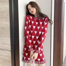 Women's large Winter 2020, autumn 2020, spring 2021 gules S = 1, M = 2, large L = 3, large XL = 4 singleton  commute Long sleeves Korean version Crew neck cotton routine 81% (inclusive) - 90% (inclusive) Middle-skirt