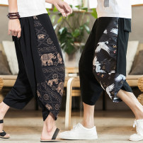 Casual pants Others Youth fashion No.5 safflower, white No.7, lotus, brown No.2, red No.6, yellow No.8, coffee No.4, blue flower, blue No.9, dragon, dragonfly, fan, crane, pure black, pure red, pure gray, Walker black, Walker red, Walker gray, carp black, carp red, carp gray, random T-shirt thin Home