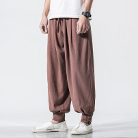 Casual pants Others Youth fashion M,L,XL,2XL,3XL,4XL,5XL routine trousers Other leisure easy No bullet Four seasons youth Chinese style 2020 Medium low back Little feet Haren pants Button decoration washing Cotton and hemp