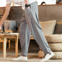 Casual pants Others Youth fashion Jute, blue, grey, light M,L,XL,2XL,3XL,4XL,5XL thin trousers Other leisure easy No bullet Four seasons 2019 middle-waisted Little feet Polyester 76% cotton 18% flax 6% Haren pants Three dimensional tailoring washing Geometric pattern other other Cotton and hemp