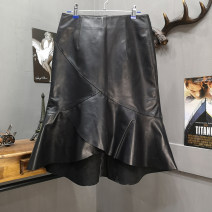skirt Autumn of 2019 M,L,XL,2XL,3XL black Short skirt A-line skirt Type A 25-29 years old Sheepskin Eupinweig