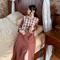 Dress Winter of 2019 Red bean paste S,M,L Mid length dress Fake two pieces Long sleeves commute V-neck High waist lattice Single breasted A-line skirt routine 18-24 years old Type A Retro Button, button