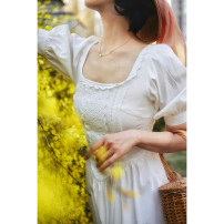 Dress Spring 2021 This is white XS [spot], s [spot], m [spot], l [spot] Mid length dress singleton  Short sleeve commute square neck High waist zipper puff sleeve Others 25-29 years old Type A Retro