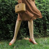 skirt Summer 2021 Mid length dress commute High waist A-line skirt Dot Type A 25-29 years old Chiffon polyester fiber Ruffles, buttons Retro