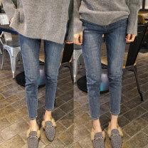 Jeans Spring of 2019 blue S,M,L,XL,2XL,3XL,4XL,5XL Ninth pants High waist Pencil pants routine Button Cotton elastic denim