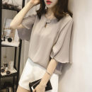 Lace / Chiffon Summer 2020 Gray, white, pink M [80-100 Jin], l [100-115 Jin], XL [115-130 Jin], 2XL [130-150 Jin], 3XL [150-170 Jin], 4XL [170-200 Jin] Short sleeve commute Socket singleton  easy Crew neck Solid color Lotus leaf sleeve 25-29 years old WN0002055 Ruffles, buttons Korean version