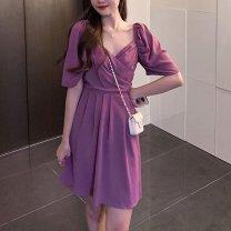Women's large Summer 2021 M [80-95 Jin], l [95-115 Jin], XL [115-135 Jin], 2XL [135-150 Jin], 3XL [150-170 Jin], 4XL [170-200 Jin] singleton  commute Short sleeve Solid color Retro V-neck other puff sleeve Other / other 91% (inclusive) - 95% (inclusive) longuette