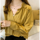 shirt Apricot, dark blue, yellow M,L,XL,2XL,3XL,4XL Autumn of 2018 other 30% and below Long sleeves commute V-neck Socket routine Solid color 18-24 years old Other / other Korean version 9350# Lotus leaf edge