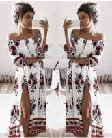 Dress Summer of 2019 Picture color S,M,L,XL longuette three quarter sleeve One word collar Breast wrapping