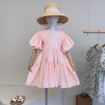 Dress Pink spot, pink ~ pre sale female Other / other 100cm / tag 5110cm / tag 7120cm / tag 9130cm / tag 11140cm / tag 13, average size for adults Other 100% summer Korean version Short sleeve Solid color cotton A-line skirt CX734 Chinese Mainland