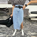 skirt Summer 2021 S,M,L,XL Light blue, black Middle-skirt Versatile High waist Denim skirt Solid color Type A 18-24 years old More than 95% Denim cotton pocket