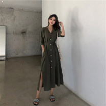 Dress Summer 2020 Orange [premium], green [premium], apricot [premium] S,M,L,XL,2XL,3XL Mid length dress singleton  Short sleeve commute tailored collar High waist Solid color Single breasted routine Korean version Bandage