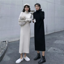 Dress Autumn 2020 [high quality] cream apricot skirt, [high quality] black skirt S,M,L,XL Mid length dress singleton  Long sleeves commute High collar High waist Solid color Socket routine Others Type H Korean version knitting