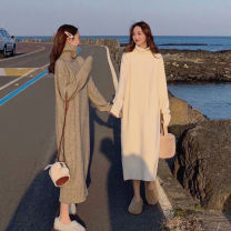 Dress Autumn 2020 [quality] off white, [quality] khaki, [quality] dark gray S,M,L,XL longuette singleton  Long sleeves commute Half high collar Loose waist Solid color Socket A-line skirt other Others Type H Korean version knitting