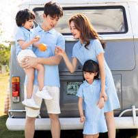 Parent child fashion 811 sky blue, 8901 shorts A family of three Female, male, neutral Meidada summer leisure time Thin money Solid color Finished T-shirt cotton L,M,S,XL,XXL Cotton 95% polyurethane elastic fiber (spandex) 5% Class B S,M,L,XL,XXL Chinese Mainland