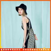 Dress Spring 2021 Black with green M, L Mid length dress singleton  Sleeveless commute V-neck middle-waisted lattice other A-line skirt other camisole 25-29 years old Type A literature Splicing More than 95% other polyester fiber