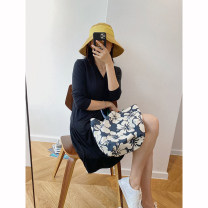 Dress Summer 2020 black XS,S,M Mid length dress singleton  Long sleeves street V-neck Loose waist Solid color Socket other routine Others 30-34 years old Type H Other / other More than 95% other Europe and America
