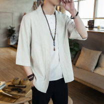 shirt Fashion City Others M,L,XL,2XL,3XL,4XL,5XL Black, linen routine other three quarter sleeve Self cultivation Other leisure summer Large size Chinese style 2020 Solid color washing Easy to wear