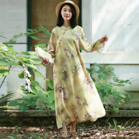 Dress Autumn of 2018 Decor M L longuette singleton  Long sleeves commute stand collar Loose waist Decor Socket A-line skirt routine Others 40-49 years old Type A Chaos in the south of the Yangtze River Retro pocket 91% (inclusive) - 95% (inclusive) other cotton Cotton 92% polyamide 8%