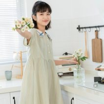 Dress Summer 2021 green Average size Mid length dress singleton  Short sleeve commute Admiral Loose waist A-line skirt routine Others 18-24 years old Type A Korean version Button 81% (inclusive) - 90% (inclusive) cotton