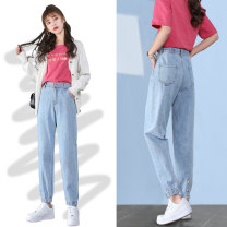 Jeans Spring 2021 Light Blue Retro Blue 26 27 28 29 30 31 32 Ninth pants High waist Haren pants routine 18-24 years old Wear out wrinkles, wash and whiten others Cotton elastic denim light colour FH-01FH610 Empress Sanskrit 91% (inclusive) - 95% (inclusive) Cotton 91.6% polyester 6.5% viscose 1.9%