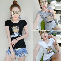 T-shirt Handy 7440 white handy 7440 grey handy 7440 black S M L XL 2XL Summer of 2019 Short sleeve Crew neck Self cultivation Regular routine commute other 96% and above Korean version Animal design Shiken printing Other 100%