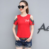 T-shirt Woman 9063 white woman 9063 black woman 9063 pink woman 9063 red S M L XL 2XL 3XL Summer of 2019 Short sleeve Crew neck Self cultivation Regular routine commute other 96% and above 18-24 years old Korean version classic letter Shiken Print stitching Other 100%