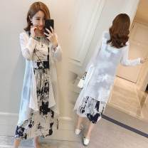 Dress Summer 2021 Blue black S M L XL 2XL 3XL 4XL 5XL Mid length dress Two piece set Long sleeves commute Crew neck High waist Decor Socket other routine Others 25-29 years old Goken ethnic style Bow pocket tie mm6806 More than 95% other Other 100%